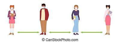 vecteur, gens, masqué, garder, étudiant, distance, social