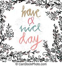 vecteur, gentil, floral, souhaiter, rond, day., éléments, décoratif, carte postale, hand-drawn, cadre, inscription, jour, card., texte, avoir, illustration