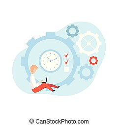 vecteur, gestion, business, fonctionnement, séance, ordinateur portable, horloge, illustration, suivant, temps, concept, régler, temps, planification, homme affaires, homme