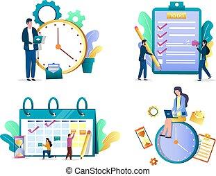 vecteur, gestion, isolé, tâche, ensemble, illustration, concept