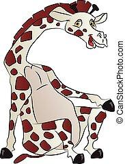 vecteur, girafe, sitting.