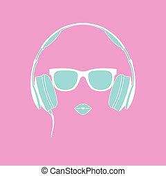 vecteur, girl, écouteurs, silhouette, coloré