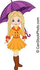 vecteur, girl, beau, automne, parapluie