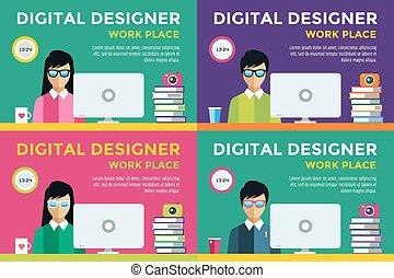 vecteur, girl, concepteur, silhouette, lieu travail