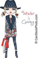 vecteur, girl, mode, vêtements hiver