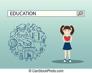 vecteur, girl, moteur, barre, education, lecture, recherche, design., illustration