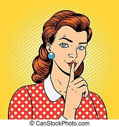 vecteur, girl, silence, doigt, geste