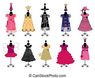 vecteur, girls., costumes, robes