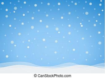 vecteur, glacial, fond, flocons neige