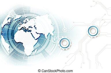 vecteur, global, arrière-plan numérique, concept, résumé, technologie