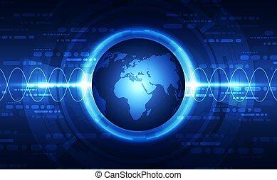 vecteur, global, concept, fond, résumé, technologie numérique