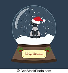vecteur, globe, noël, chat, illustration, neige