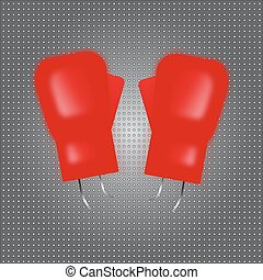 vecteur, gloves., boxe, rouges, illustration.