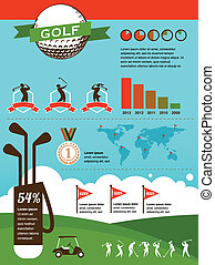 vecteur, golf, infographics