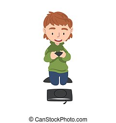 vecteur, gosse, style, illustration, mignon, vidéo, jouant jeu, contrôleur, garçon, joue consolez, tenue, dessin animé