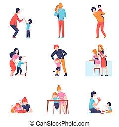 vecteur, gosses, ensemble, temps, père, illustration, avoir, bon, fils, parents, mère, enseignement, jouer, filles