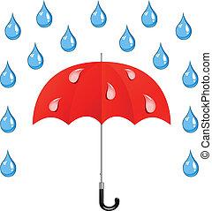 vecteur, gouttes, parapluie, pluie