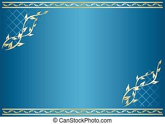 vecteur, gradient, bleu, carte, floral