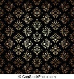 vecteur, gradient, modèle, décoratif, or, noir