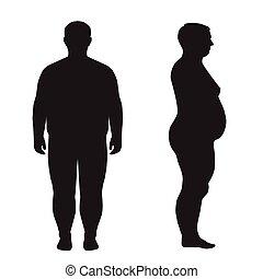 vecteur, graisse, perte pondérale, corps