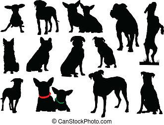 vecteur, grand, ensemble, chien, silhouettes.