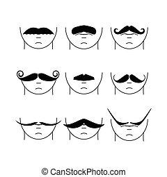 vecteur, grand, ensemble, hipster, mustache.