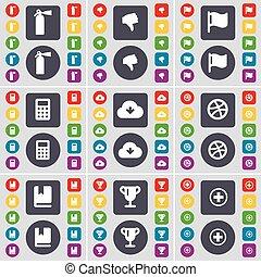 vecteur, grand, ensemble, tasse, coloré, plat, calculatrice, brûler, drapeau, symbole., aversion, boutons, dictionnaire, plus, extincteur, icône, nuage, balle, ton, design.