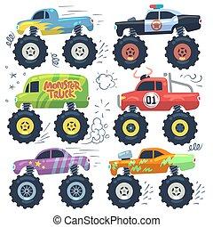 vecteur, grand, monstre, isolé, dessin animé, ensemble, voitures, wheels., cars.