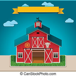 vecteur, grange, icône, xxl
