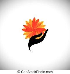 vecteur, graphique, &, concept, -, main, femme, fleur, spa, icône