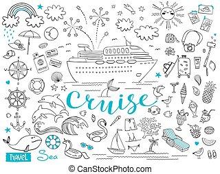 vecteur, graphique, elements., paquet, tour., voyage, illustration, ship., thème, ensemble, mer, croisière, voyage