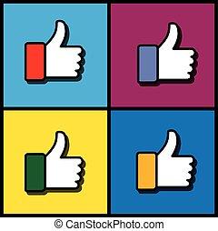 vecteur, graphique, ensemble, aimer, icônes, média, -, main, concept, social