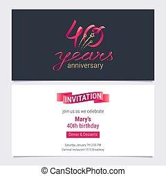 vecteur, graphique, illustration., carte, anniversaire, 40, années, anniversaire, conception, invitation, fête, élément, 40th, inviter