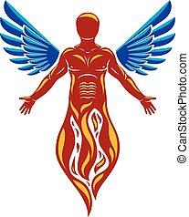vecteur, graphique, illustration, de, fort, mâle, corps, silhouette, créé, à, oiseau, wings., réincarné, depuis, flamme, idea.