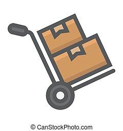 vecteur, graphiques, carton, 10., contour, coloré, modèle, livraison, signe, eps, boîtes, fond, camion, chariot, logistique, icône, blanc, main, ligne, rempli
