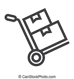 vecteur, graphiques, carton, 10., linéaire, modèle, livraison, signe, eps, boîtes, fond, camion, chariot, logistique, icône, blanc, main, ligne