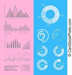 vecteur, graphiques, ensemble, diagrammes, infographics