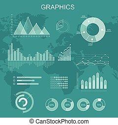 vecteur, graphiques, ensemble, transparent, diagrammes