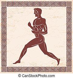 vecteur, grec, drawing.