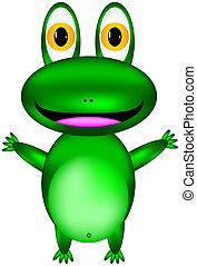 vecteur, grenouille verte, heureux