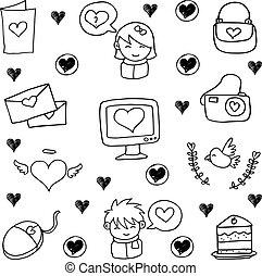 vecteur, griffonnage, ensemble, amour, illustration