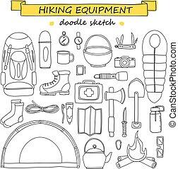 vecteur, griffonnage, ensemble, de, randonnée, et, camping, equipment., tourisme, icônes