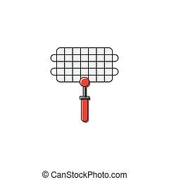 vecteur, gril, blanc, outillage, icône, acier, isolé, fond, grille, barbecue, symbole