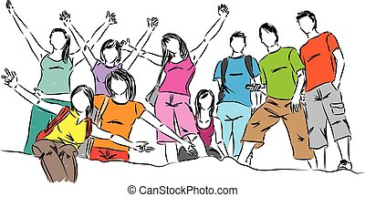 vecteur, groupe, ados, illustration, gens