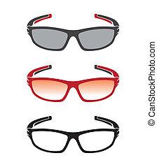 vecteur, groupe, de, une, lunettes soleil