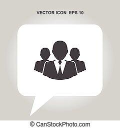 vecteur, groupe, gens, icône