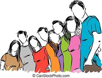 vecteur, groupe, illustration, gens