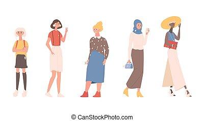 vecteur, groupe, nationalités, femmes, jeune, debout, cultures, illustration., âges, différent, ensemble, plat