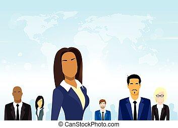 vecteur, groupe, professionnels, divers, associez-vous guide