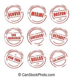 vecteur, grunge, boston, timbre, détroit, miami, américain, denver, cities., chicago, rouges